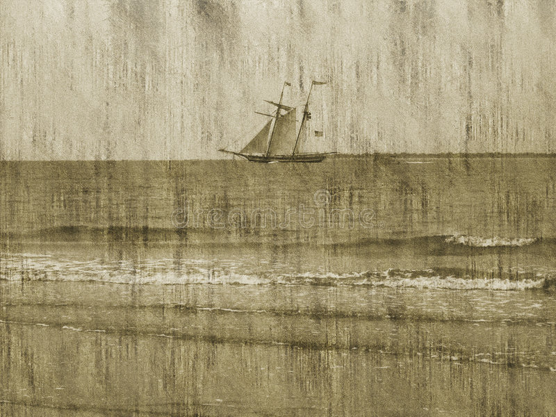 Grunge Background/Ship/Ocean stock illustration