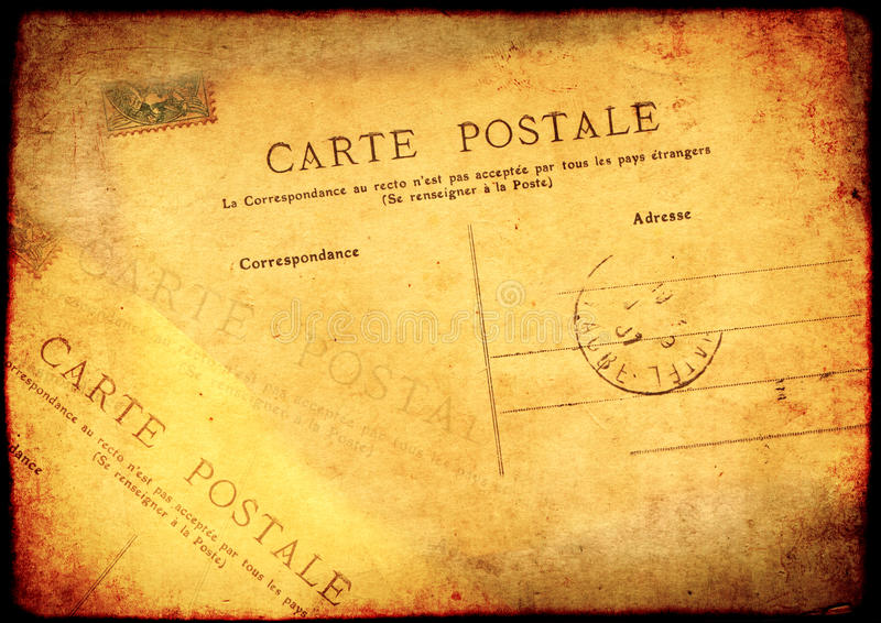 Grunge background with texture old paper and vintage post card. Grunge background with texture of the old, soiled paper and vintage post card royalty free illustration