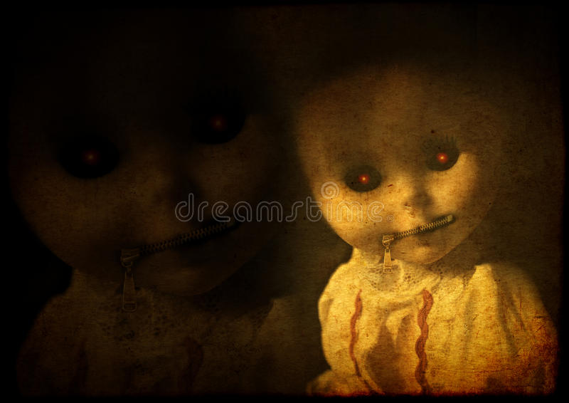 Grunge background with vintage evil spooky doll with zipped mouth stock images