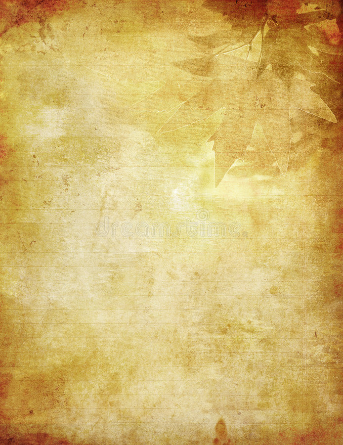 Free Grunge Background With Autumn Leaves Stock Images - 6737874