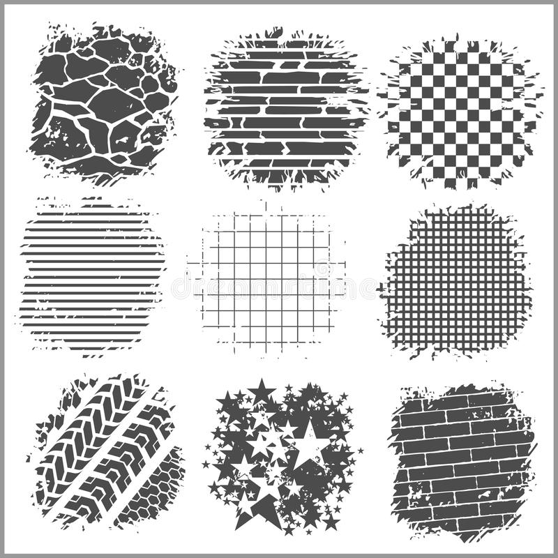 Grunge backgrounds - bricks, tire tracks and. Others - vector set stock illustration