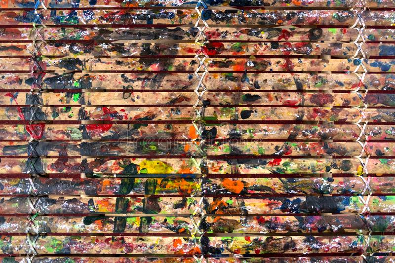 Grunge Bamboo Bars Texture with Colors Spatter for Abstract Background. Image of grunge colorful spatters on bamboo bars texture for background, website, banner stock images