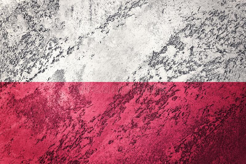 grunge bandery Poland Polska flaga z grunge teksturą ilustracji