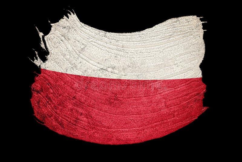 grunge bandery Poland Polska flaga z grunge teksturą Szczotkarski strok ilustracja wektor