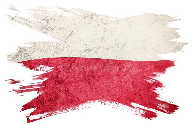 grunge bandery Poland Polska flaga z grunge teksturą Szczotkarski strok obrazy royalty free