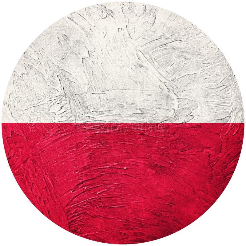 grunge bandery Poland Polska guzika flaga Odizolowywająca na białym backgro royalty ilustracja