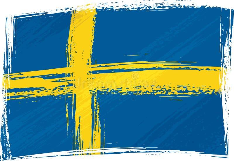 grunge bandery Szwecji ilustracji