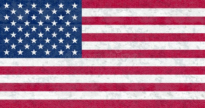 grunge bandery usa Odosobniony Amerykański sztandar z porysowaną teksturą na drelichowej tkaninie ilustracji