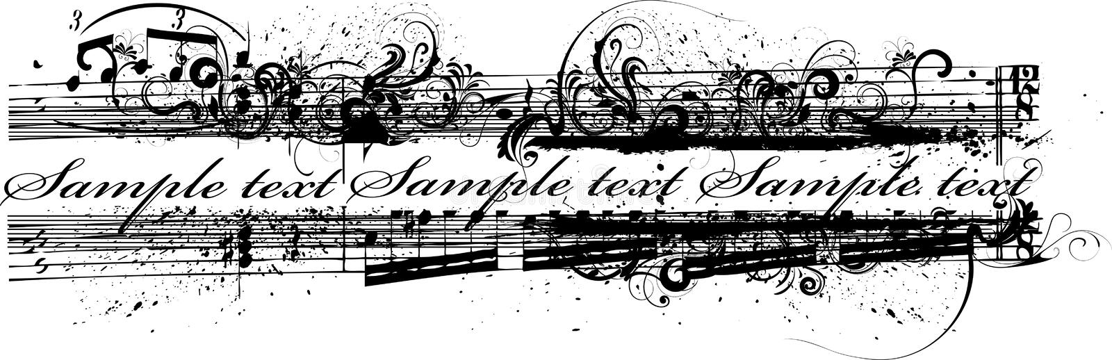 Grunge banner. Grungy banner with musical notes and floral decorations royalty free illustration