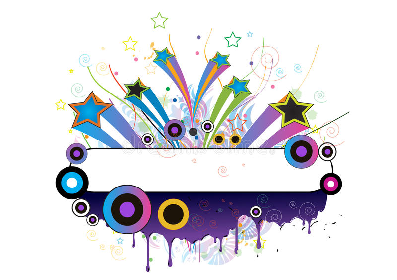 Illustrated banner with colorful shapes royalty free illustration