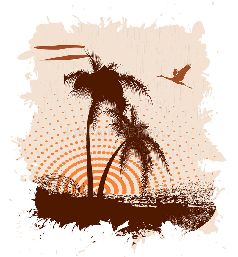 Grunge a banner with palm trees royalty free illustration
