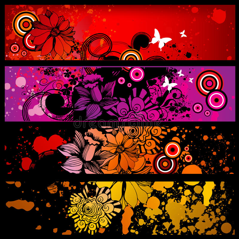 Grunge banner set royalty free illustration