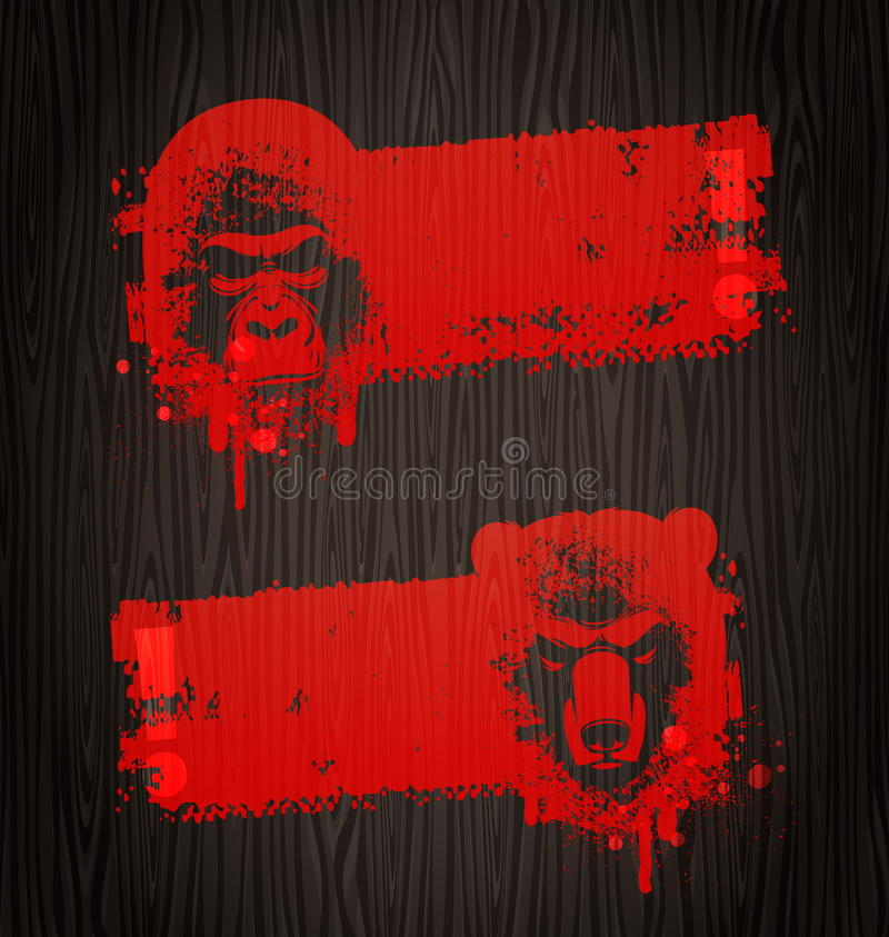 Grunge Banners With Animal Heads Royalty Free Stock Photography