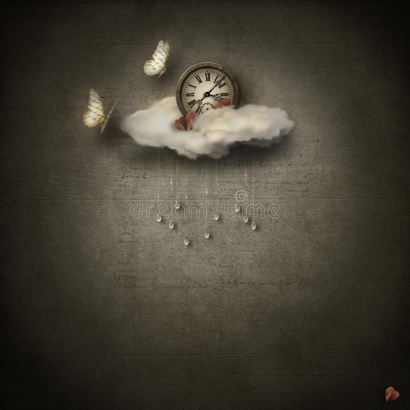 Grunge base with clouds, clock & paper butterflies royalty free stock photos