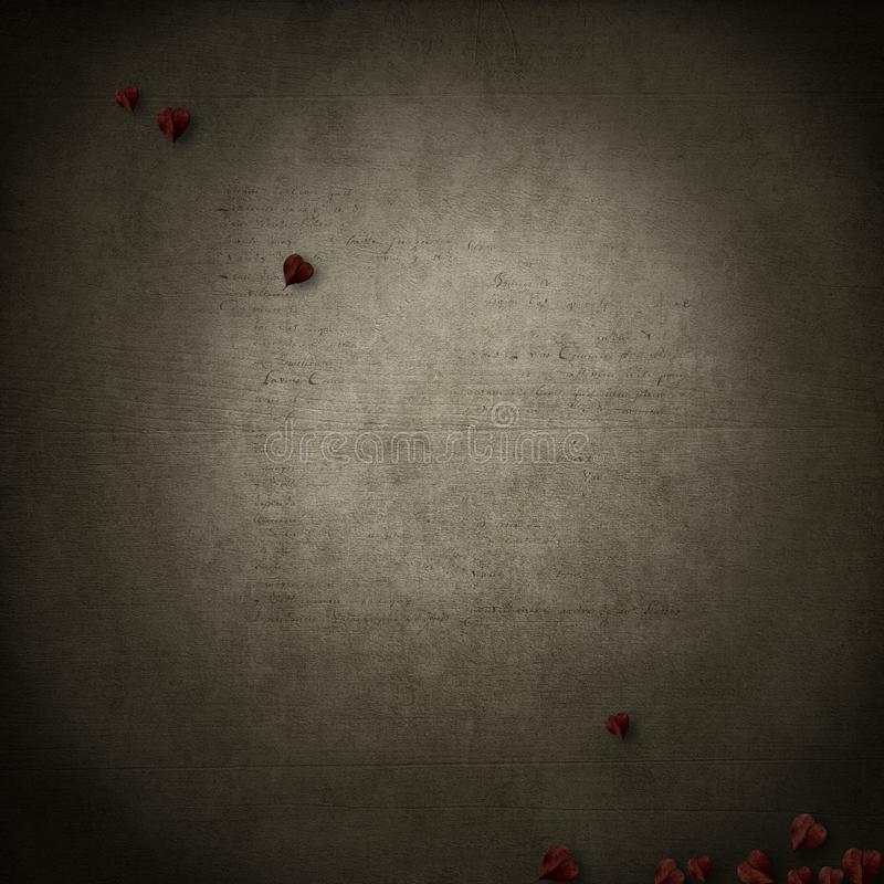 Grunge base with red heart leaves royalty free stock photography