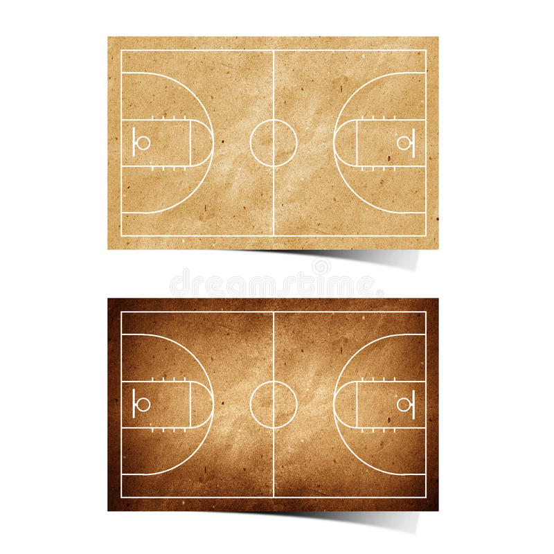 Free Grunge Basketball Field Recycled Paper Royalty Free Stock Photography - 19777997