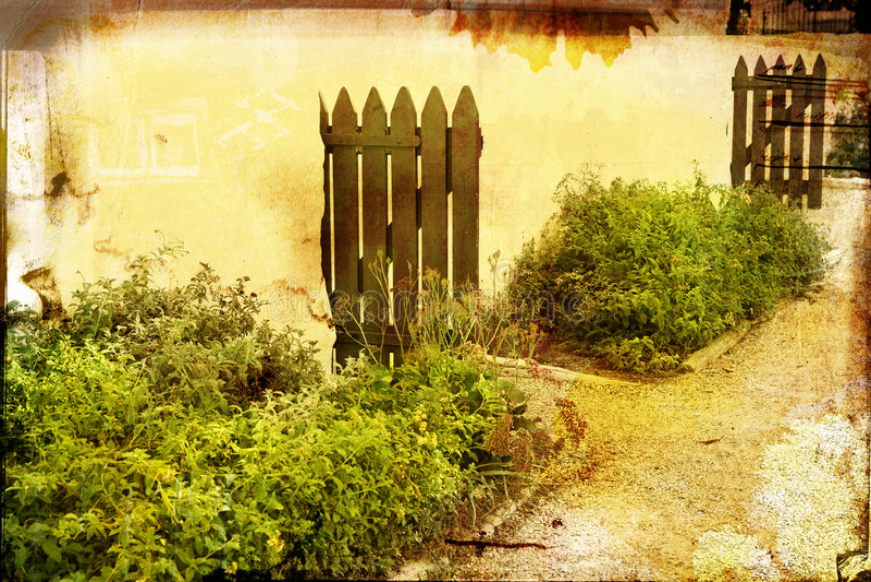 Grunge Bauernhofyardseite stockbilder