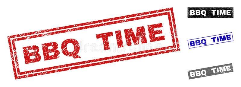 Grunge BBQ czasu prostokąta Textured Watermarks ilustracja wektor