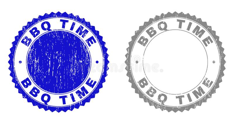 Textured BBQ TIME Scratched Stamps vector illustration