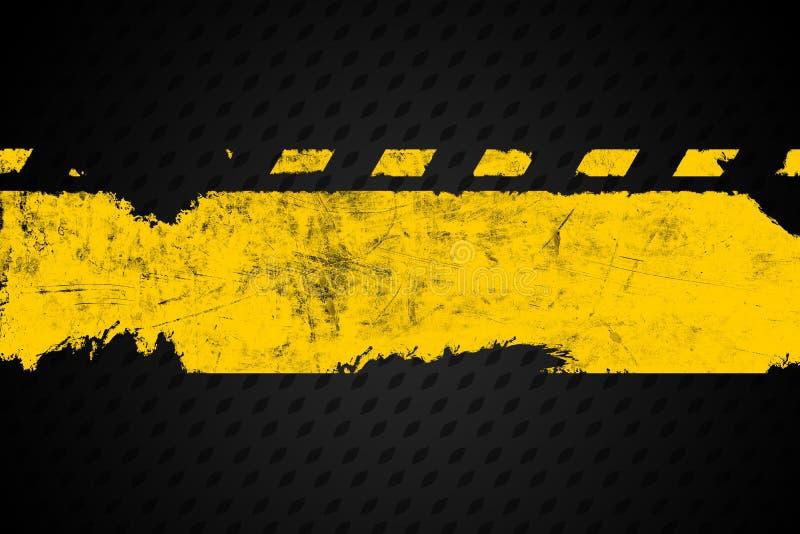 Grunge bedrövade det gula banret för slaglängden för målarpenseln för vägmarkeringen stock illustrationer