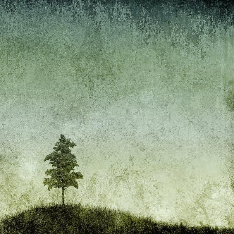 Grunge Beschaffenheit mit einzelnem Baum vektor abbildung