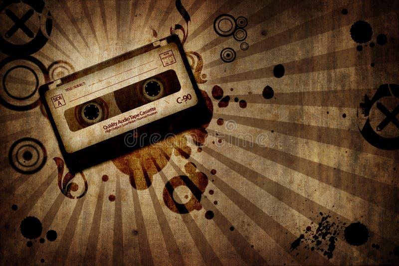 Grunge Beschaffenheitshintergrund mit Musik cassete lizenzfreie abbildung