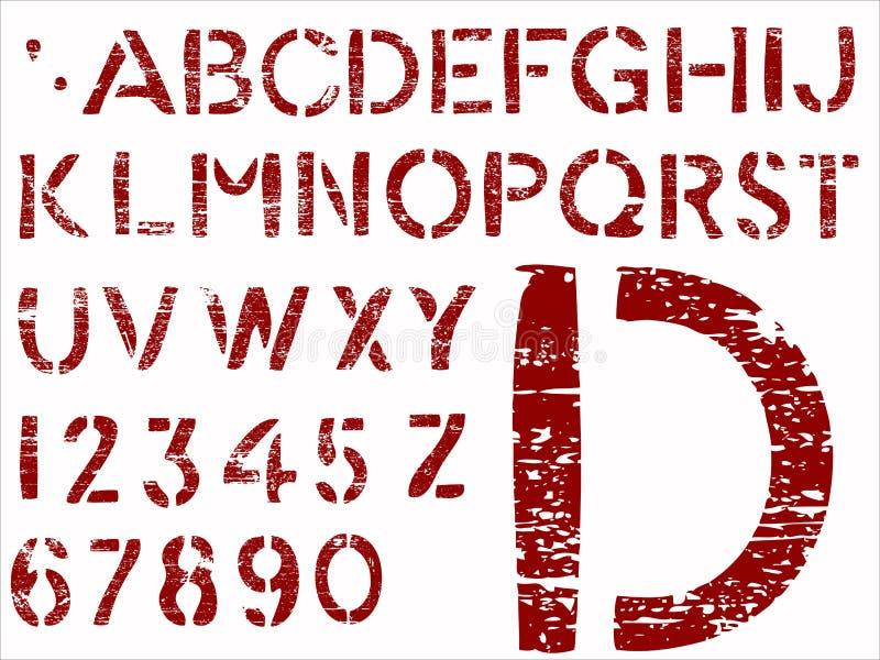 Grunge bezeichnet Alphabet mit Buchstaben vektor abbildung