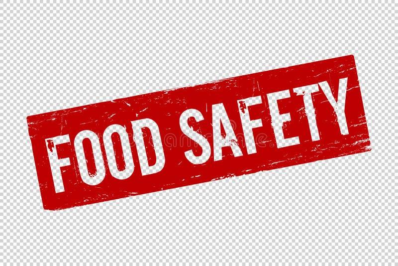 Grunge bezpieczeństwa żywnościowe czerwonego kwadrata foki gumowy znaczek royalty ilustracja