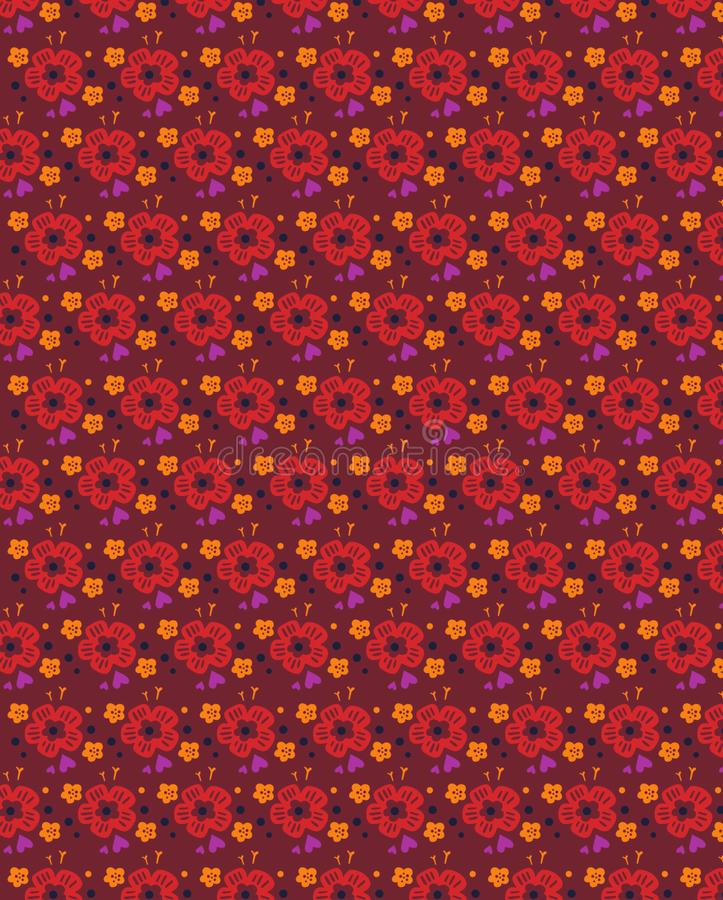 Grunge bezszwowy kwiecisty wzór z ręka rysującymi śmiałymi kształtami Tekstura dla sieci, druk, tkanina, tkanina, wiosny lata mod ilustracji