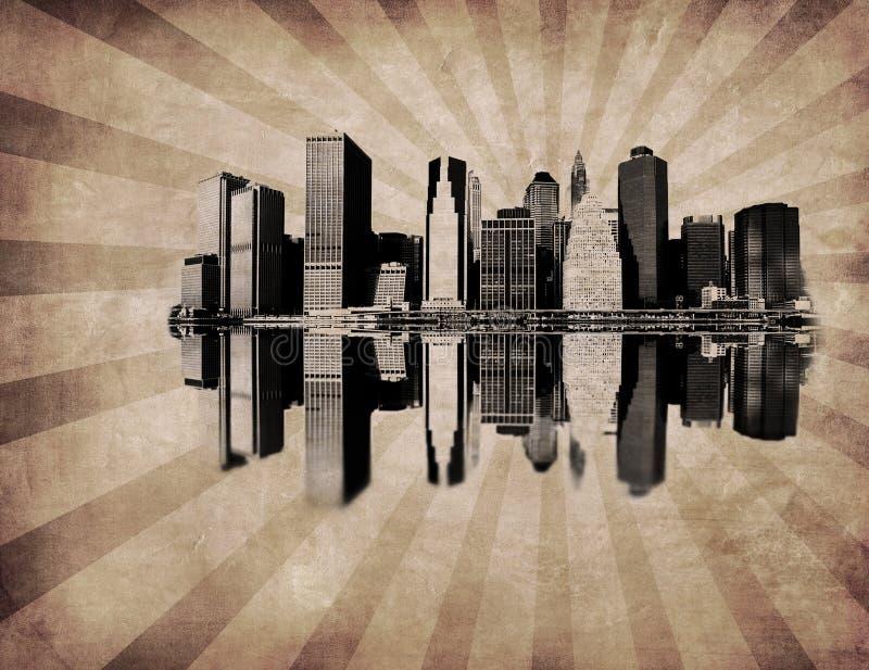 Grunge Bild der New- YorkSkyline lizenzfreies stockbild