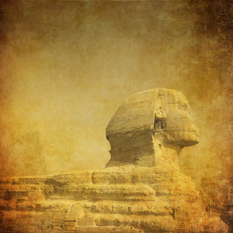 Grunge Bild von sphynx und von Pyramide lizenzfreies stockbild