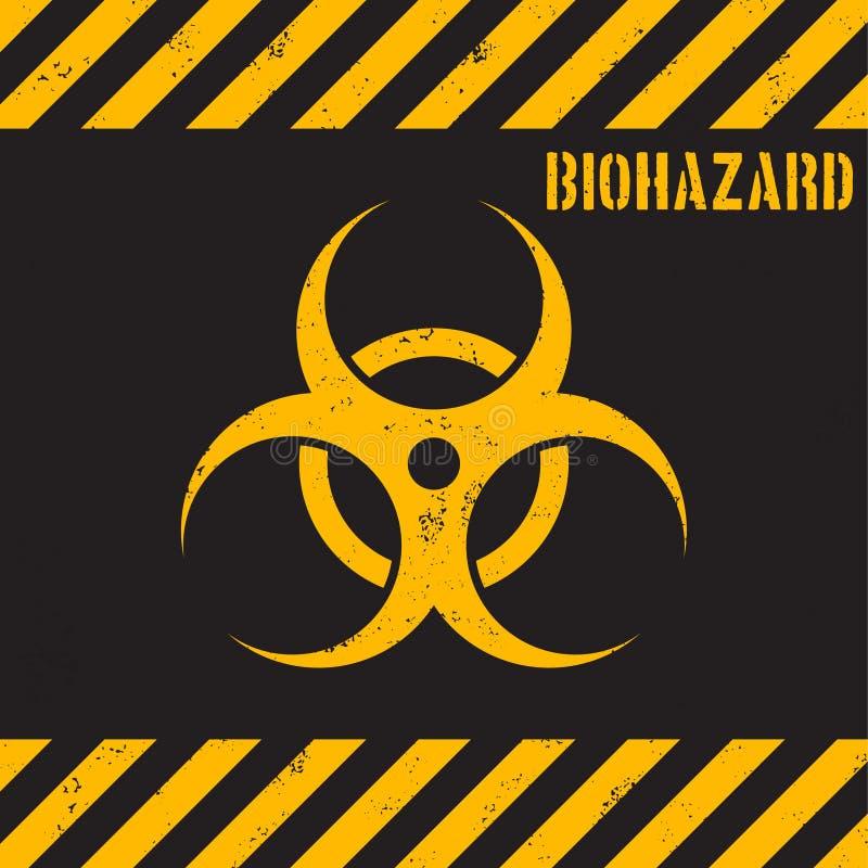 Grunge Biohazard Background Yellow Biohazard Symbol On Black