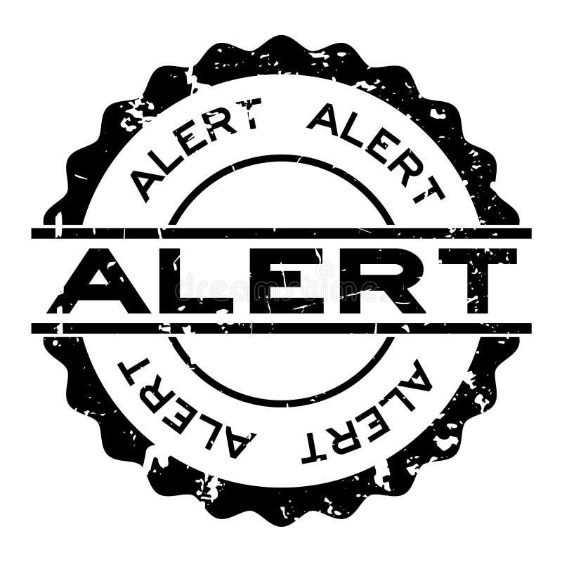 Grunge black alert word round rubber stamp on white background stock illustration
