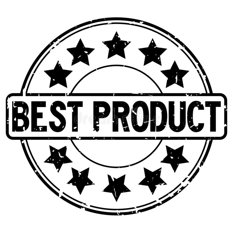 Grunge black best product word with star icon round rubber stamp on white background stock illustration