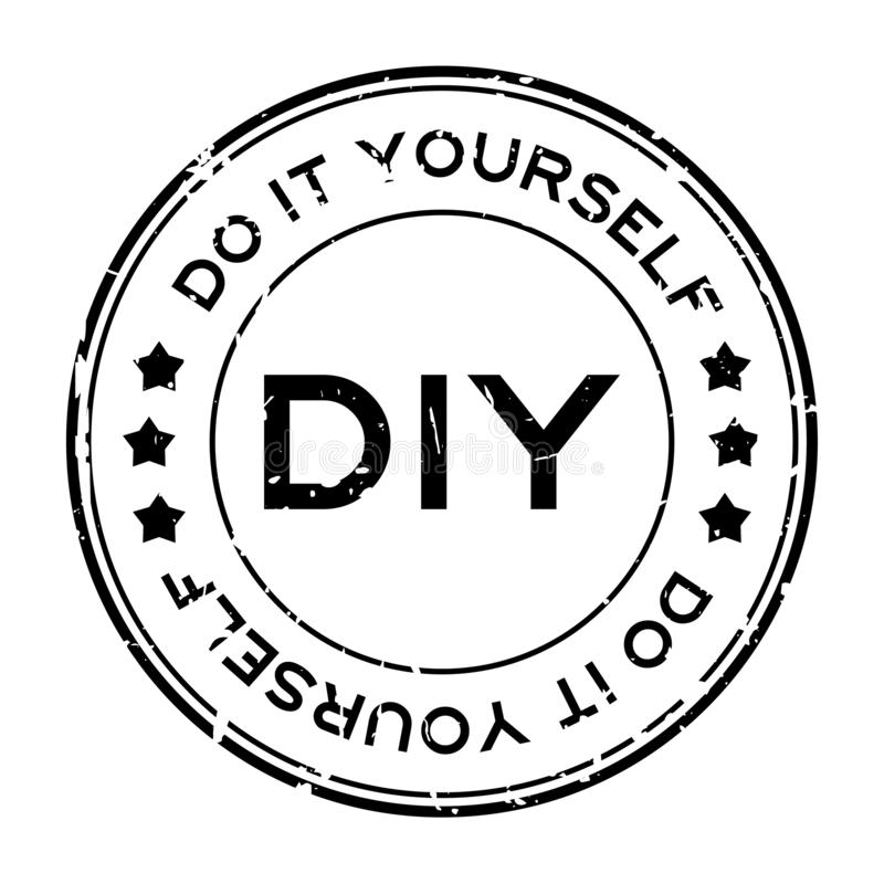 Grunge black DIY word Abbreviation of Do it yourself round rubber stamp on white background royalty free illustration