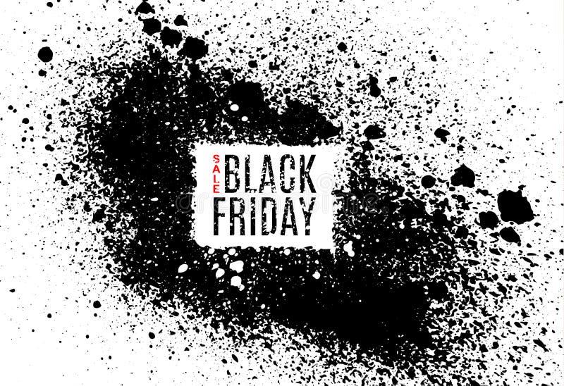 Grunge Black Friday sprzedaży plakat Nowożytny projekt z czarnym atramentu pluśnięciem, muśnięcie atramentu kropelki, zaplamia Cz ilustracja wektor