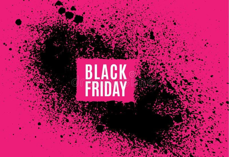 Grunge Black Friday sprzedaży plakat Nowożytny projekt z kiści czerni atramentu pluśnięciem, muśnięcie atramentu kropelki, zaplam royalty ilustracja
