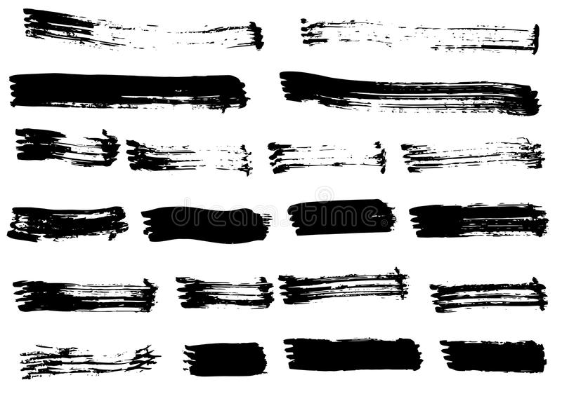 Grunge black hand drawn brush strokes isolated. Different dry vector brush strokes royalty free illustration