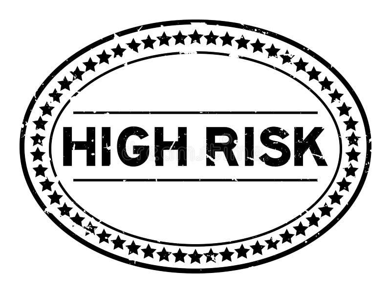 Grunge black high risk word oval rubber stamp on white background stock illustration