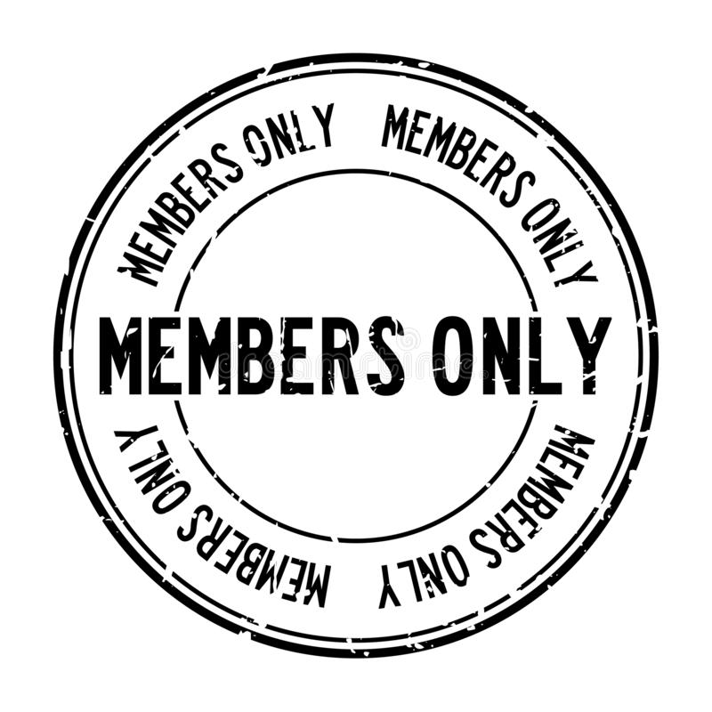 Grunge black members only word round rubber seal stamp on white background stock illustration