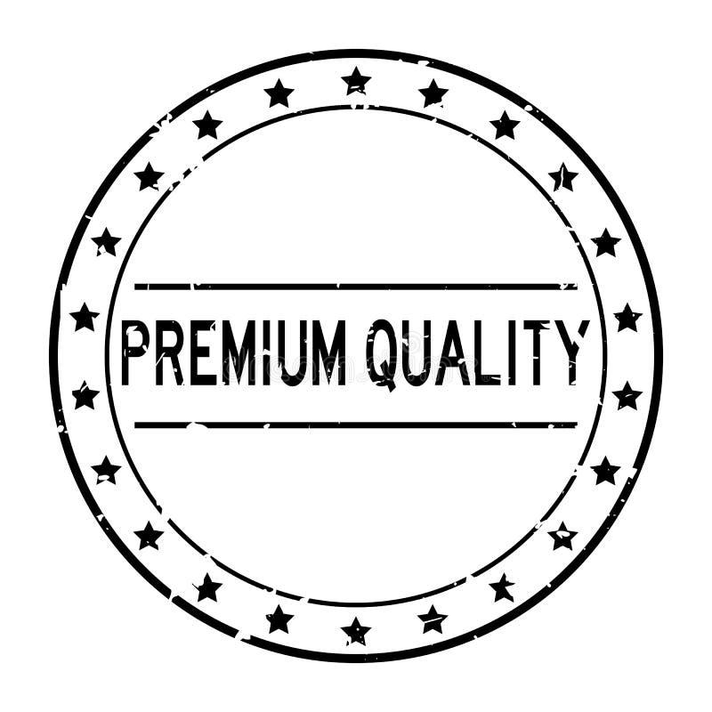 Grunge black premium word avec icône étoile tampon en caoutchouc sur fond blanc illustration libre de droits