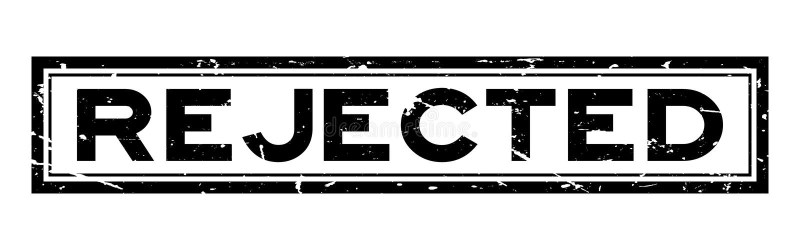 Grunge black rejected square rubber business stamp on white background vector illustration