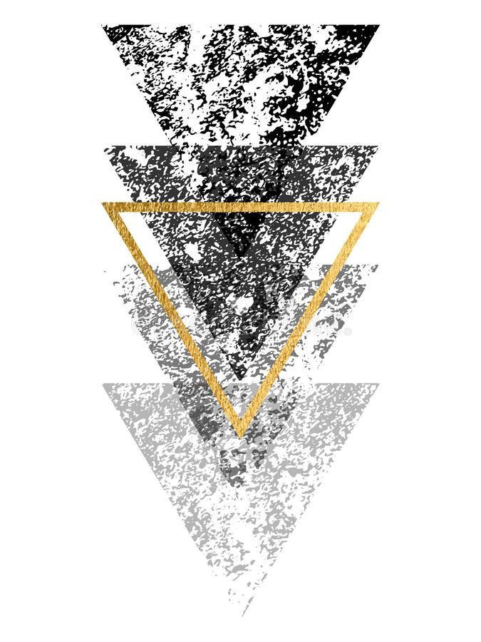 Grunge black shapes of triangles with gold triangle for logo de stock illustration