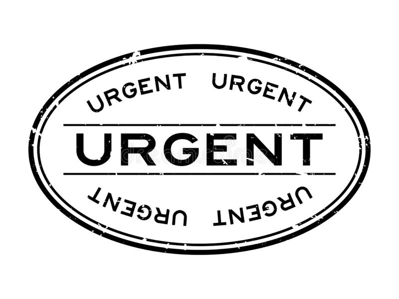 Grunge black urgent word oval rubber stamp on white background royalty free illustration