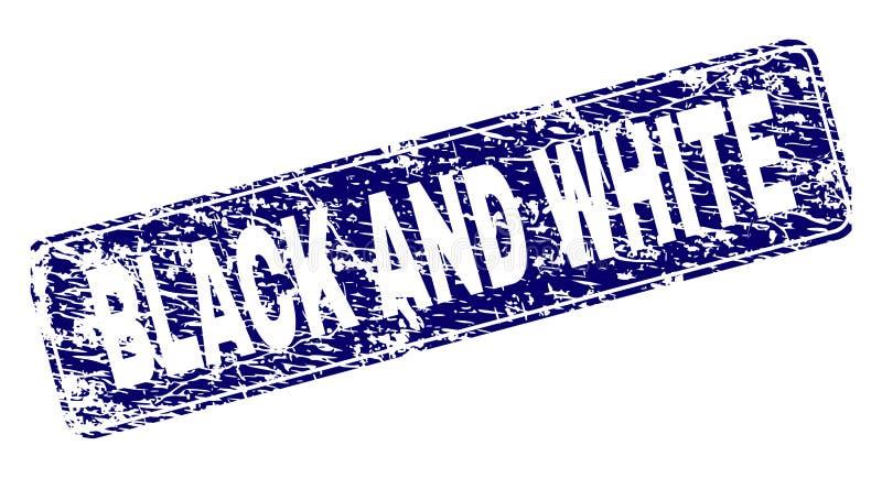 Grunge BLACK AND WHITE Framed Rounded Rectangle Stamp. BLACK AND WHITE stamp seal print with grunge texture. Seal shape is a rounded rectangle with frame. Blue vector illustration
