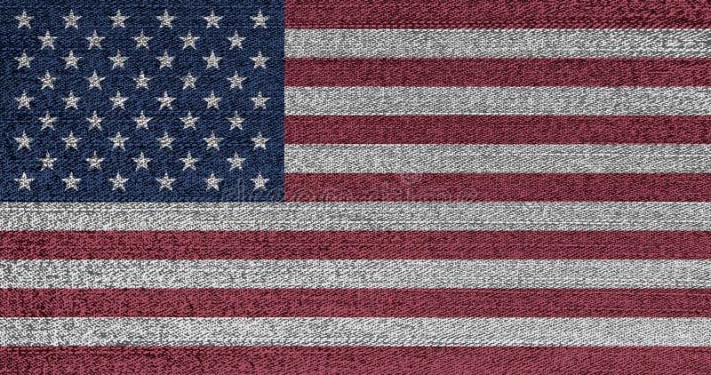 Grunge blaknąca flaga usa Odosobniony Amerykański sztandar na drelichowej tkaninie Nieociosany rocznika styl U S niezależność, po obrazy stock