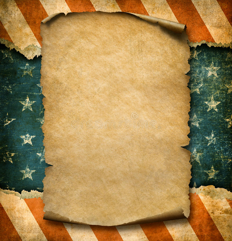 Grunge Blank Paper Declaration Over USA Flag Independence Day ...