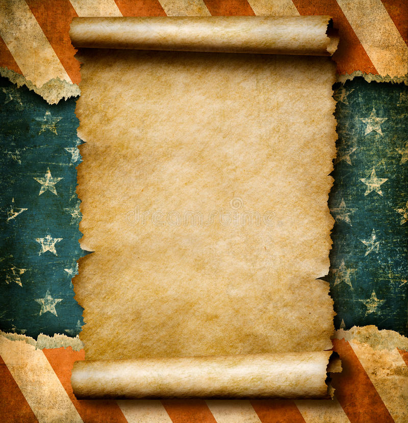 Grunge blank paper scroll or parchment over USA flag independence day template 3d illustration stock illustration
