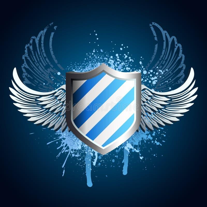 Grunge blaues Schildemblem stock abbildung