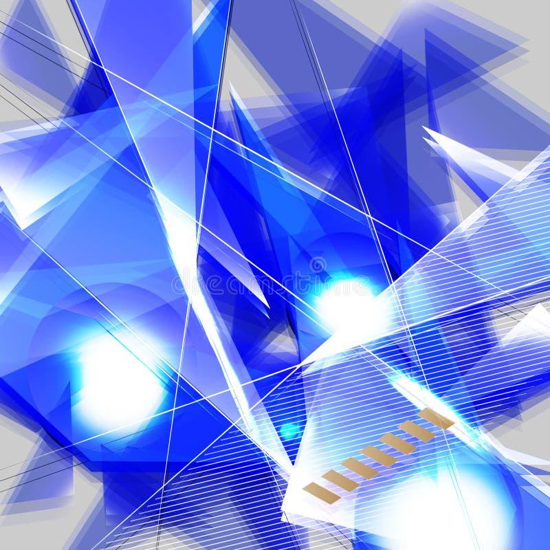 Grunge blauwe futuristische abstracte achtergrond met geometrische vorm stock illustratie
